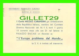 PROGRAMMES - L'EUROPA PROBLEMA DEL MONDO, 1949 - CONTE NICOLO CARANDINI - PALAZZO DUCALE - - Programmes