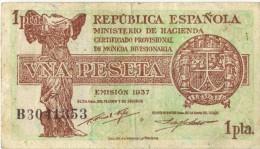 Republica Espanola , 1937 , 1 Peseta - [ 3] 1936-1975 : Régence De Franco