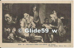 XVII-14 - Père Lisant La Bible à Ses Enfants, Par Greuze - Pittura & Quadri