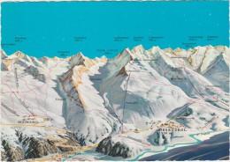 AK MAP, Landkarte, Ski Panoramakarte **Obergurgl, Untergurgl, Hochgurgl** Austria - - Landkarten