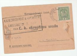 1918 Ceska Trebova AUSTRIA (czech)  5h Stamps COVER (card) Czechoslovakia - Covers & Documents