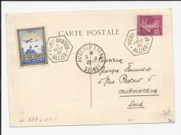 CARTE SOUVENIR DE VICHY AVIATION 1932 AVEC VIGNEETTE SPECIALE  VIGNETTE LETTRE  COVER  AVIATION FRANCE - Postmark Collection (Covers)