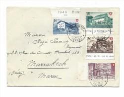 Suisse HONDRICH BERNER OBERLAND 1949 Pro Patria Série Complète 1949  Sur Lettre Pour Le Maroc - Storia Postale