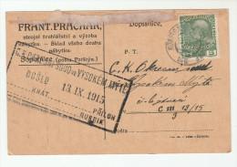 1915 Sopotnice AUSTRIA 5h Stamps COVER Card Czechoslovakia - 1850-1918 Empire