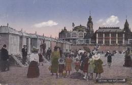 Ostende, Vue Sur La Plage / Ostende Feldpost Belgien 1916 Stempel Flakschule - Oostende