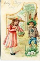 "GOFRADA GAUFFREE 3D LAPIN DE PÂQUES ""BIEN ÉQUIPÉ"" CONEJO RABIT BIG PACKAGE RARISSIME CIRCULEE TIMBRE ARRACHES 1909 GECKO - Stripverhalen"