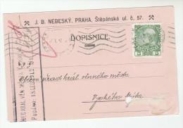 1912 Praha AUSTRIA (czech)  COVER  (card) 5h AUSTRIA Stamps Czechoslovakia - Covers & Documents