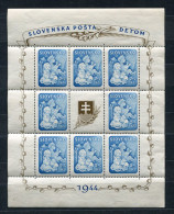 Slovakia 1944 Souvenir Sheet Mi Block 155 Sc B27A MH  (salvage) Children - Unused Stamps