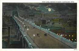 235095-Ohio, Cleveland, High Level Bridge at Night, Braun by Curt Teich No 80325