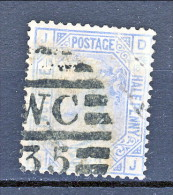 UK 1875-80 Victoria N. 57- 2,5 Penny Azzurro JD Tavola 18 Usato - Used Stamps