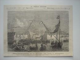 GRAVURE 1879. HOLLANDE. INAUGURATION DE LA NOUVELLE CALE SECHE A AMSTERDAM. - Estampes & Gravures