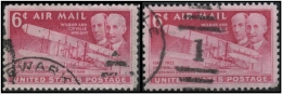 USA (Flight: Wright Brothers Issue) 6c. (Sc # C45) Error: A Very Nice Color Difference Found In Both Stamps (Used) - Errors, Freaks & Oddities (EFOs)