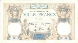 Billet 1000 Francs Ceres Et Mercure 1938 - Série 27 - 1 000 F 1927-1940 ''Cérès Et Mercure''