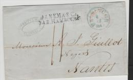 DKV006/ DÄNEMARK -  Helsingor/Elseneur), 1849 Via Kobenhagen - Hamburg (dän. P.A./ THT Postamt) Nach Nantes - Danimarca