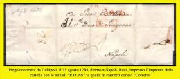 Gallipoli-00311 - Piego (con Testo) Del 23 Agosto 1798 - - Italia