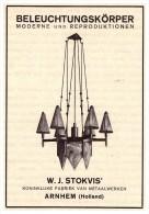 Original Werbung - 1927 - W.J. Stokvis , In Arnhem , Holland , Beleuchtung , Lampen , Arnheim !!! - Lampen