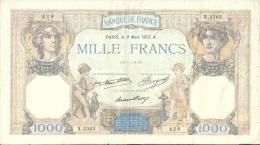Billet 1000 Francs Ceres Et Mercure 1933 - 1871-1952 Antichi Franchi Circolanti Nel XX Secolo