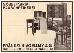 Original Werbung - 1927 - Fränkel & Voellmy In Basel , Möbelfabrik , Schreinerei , Rosentalstrasse  !!! - Architecture