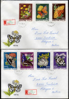 UNGARN 1974 - Schmetterlinge, Butterflies - MiNr.2994-3000 / 2 Reko Briefe Kompletter Satz - Butterflies