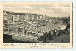 STETTIN - Hansabrücke - Pont De La Hanse Et Quais Vers L' Aval - 2 Scans - Pologne