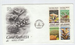 USA CORAL REEFS FISH FISHES FDC 1980 - Fische