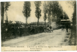 Paris Madrid L'Arrivée De Barras Aux Quatre Pavillons Voiture Darracq Cource Automobilles - France