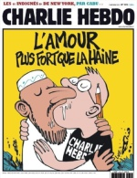 Journal Charlie Hebdo N° 1012, 9 Novembre 2011, « L'amour Plus Fort Que La Haine », 1° Couv. Dessin De LUZ - Humor