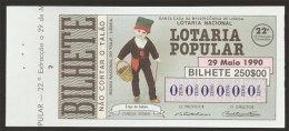 Portugal Loterie Populaire SPECIMEN Types Régionales Saloio Caneças 29.05.1990 RARE Lottery Regional Customs - Billets De Loterie