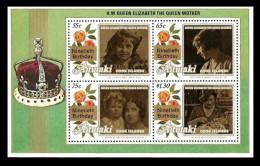 AITUTAKI COOK ISLANDS 1990 ROYALTY ROYAL QUEEN MOTHER 90TH BIRTHDAY ROSES MNH - Aitutaki