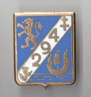 INSIGNE   294° RI REGIMENT INFANTERIE , émail, Doré - DRAGO PARIS - Armée De Terre