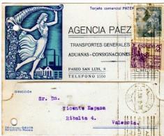2411   Tarjeta Agencia Paez  Almeria 1949 , Trasportes Generales, Aduanas -consignaciones - 1931-Aujourd'hui: II. République - ....Juan Carlos I