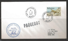 1987 Paquebot Cover, Bahamas stamp used in Dunkerque, France 7-9-1987