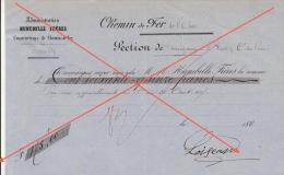Reçu 1863 Chemin De Fer De L´ouest Section Guingamp à Brest Construction Des Gares Loiseau - Documents Historiques