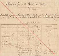 Chemins De Fer De La Ligne D´italie Bas Valais Regie D´oullins Pesage Pont Chables Barthelemy Boulons Pour Coussinet ... - Documents Historiques