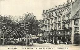Dept Div -bas Rhin -ref Z 626- Strasbourg - Strassburg - Hotel Central - 2 Place De La Gare 2 - Carte Bon Etat  - - Strasbourg