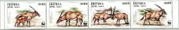 N° Michel 87 à 90 (N° Yvert 282 à 285) - Bloc Timbres De L´Erythrée (WWF) (MNH) (1996)  - WWF Beisa Oryx (JS) - Eritrea