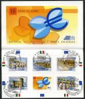 2009 Italia,  Giornata Dell'europa Libretto Con I 5 Annulli Ufficiali FDC, Serie Completa - 6. 1946-.. Republic