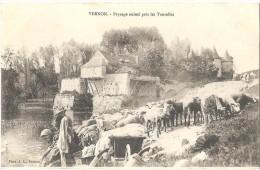 Dépt 27 - VERNON - Paysage Animé Près Les Tourelles - (moutons, Lavoir, Laveuses, Linge, Brouette) - Vernon