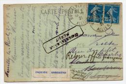 1921 - CP De NEUILLY LE REAL (ALLIER) Pour La BELGIQUE -> MISE AUX REBUTS - France