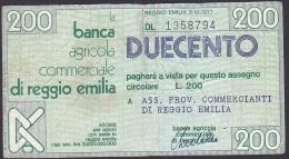 Italy (Banca Agriclole Commerciale Di Reggio Emilia), 200 Lire, F - [ 4] Provisional Issues