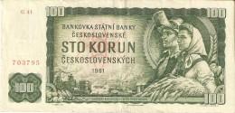 BILLETE DE CHECOSLOVAQUIA DE 100 KORUN DEL AÑO 1961  (BANKNOTE) - Checoslovaquia