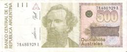 BILLETE DE ARGENTINA DE 500 AUSTRALES (BANKNOTE) - Argentina