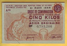 O.C.R.P.I. Section Des Fontes Fers Et Aciers. Billet De 5 Kilos - Notgeld
