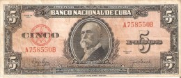 BILLETE DE CUBA DE 5 PESOS DEL AÑO 1950   (BANKNOTE)  MAXIMO GOMEZ - Cuba