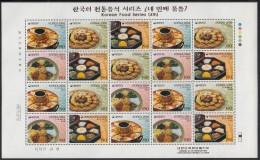 Korea South MNH Scott #2149 Minisheet Of 20 4 Different 190w Korean Cuisine - Corée Du Sud
