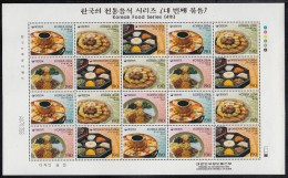 Korea South MNH Scott #2149 Minisheet Of 20 4 Different 190w Korean Cuisine - Alimentation