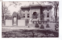 ESTHERVILLE IA Park Soldiers Monument And Library Iowa Rppc Photo Postcard  Usa - Etats-Unis