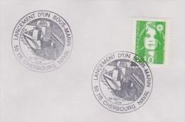 LANCEMENT D'UN SOUS MARIN, CHERBOURG NAVAL - Marcophilie (Lettres)