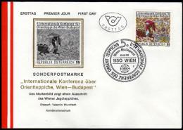 ÖSTERREICH 1986 - Seiden Jagdteppich - Sonderstempel FDC - Textil