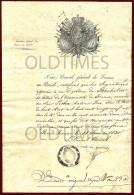 FRANCE - CONSULAT GENERAL DE FRANCE AU BRESIL - CERTIFICAT D'UN DIPLOME DE L'UNIVERSITE DE FRANCE - 1830 OLD CERTIFICATE - Manuscrits